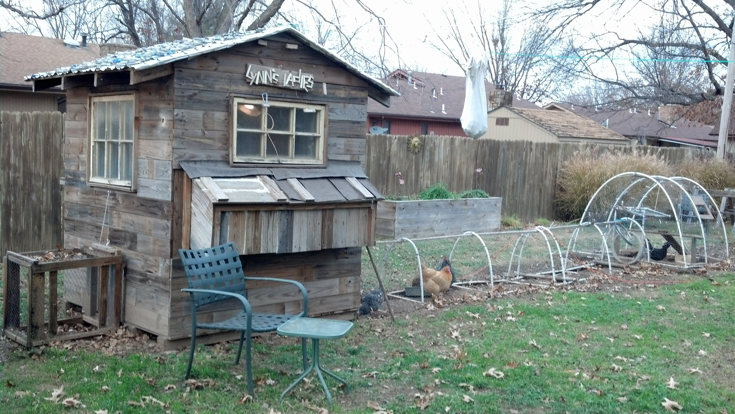 A chicken coop I built for my parents. Everything for the coop except for a couple of screws and staples was reused.