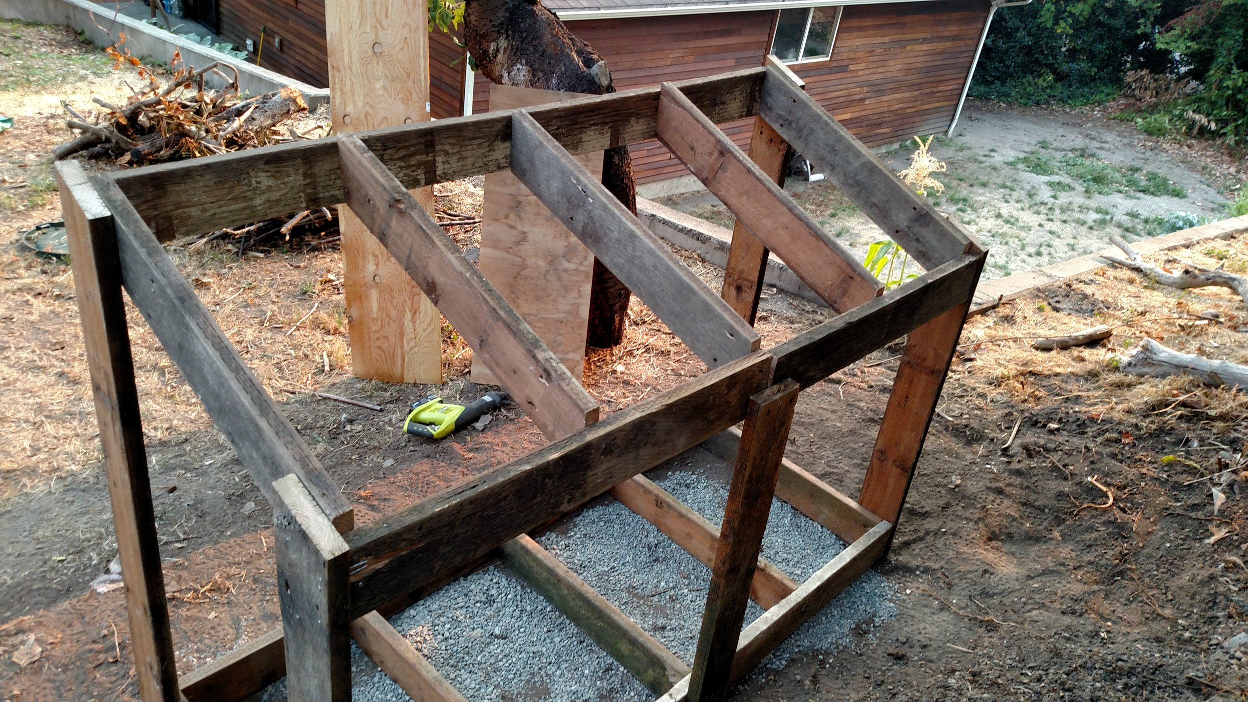 I followed my dads example of building when I used old pieces of my deck to frame out a woodshed.