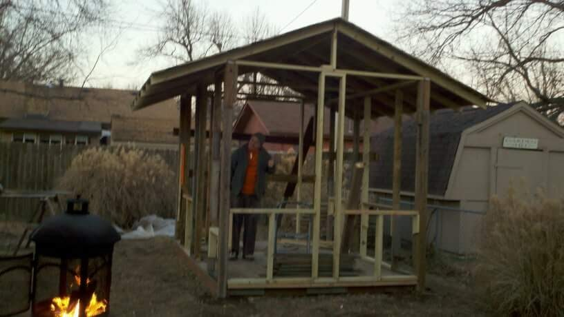My dad putting some finishing touches on the framing that me and my brothers put up. I get a lot of building know how from his innate sense of physics.