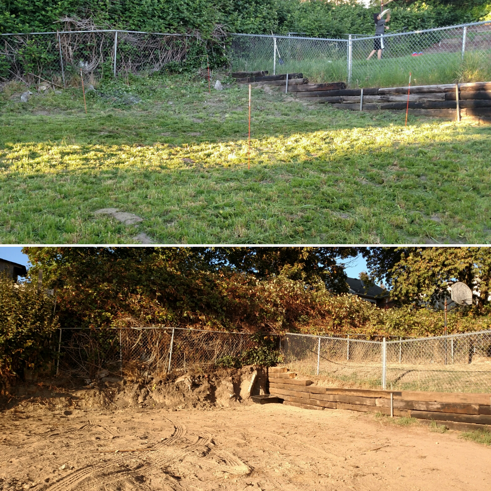 Before and after pictures of fixing up the side retaining wall.