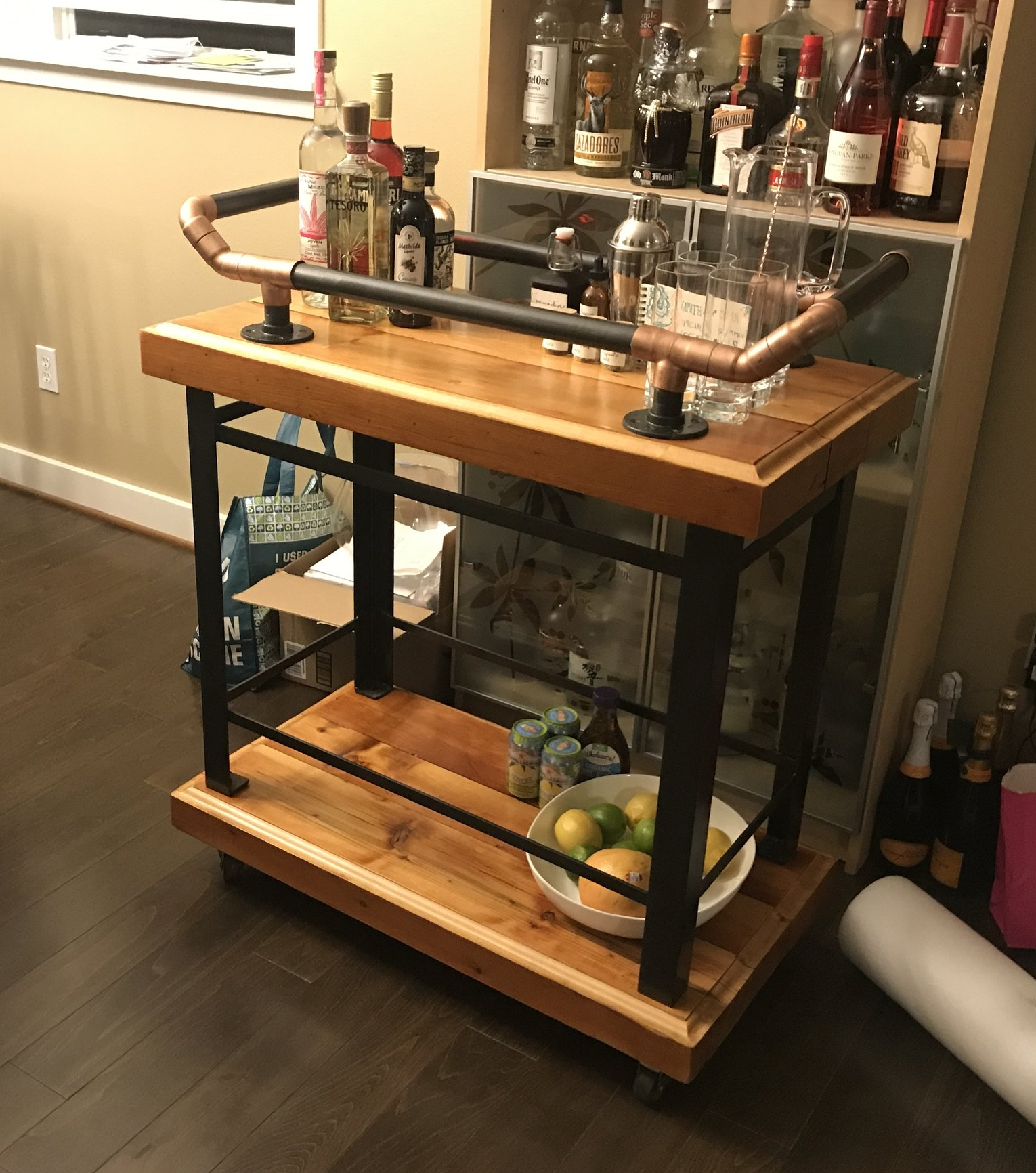 Bar cart from reclaimed lumber for Albert and Neena!