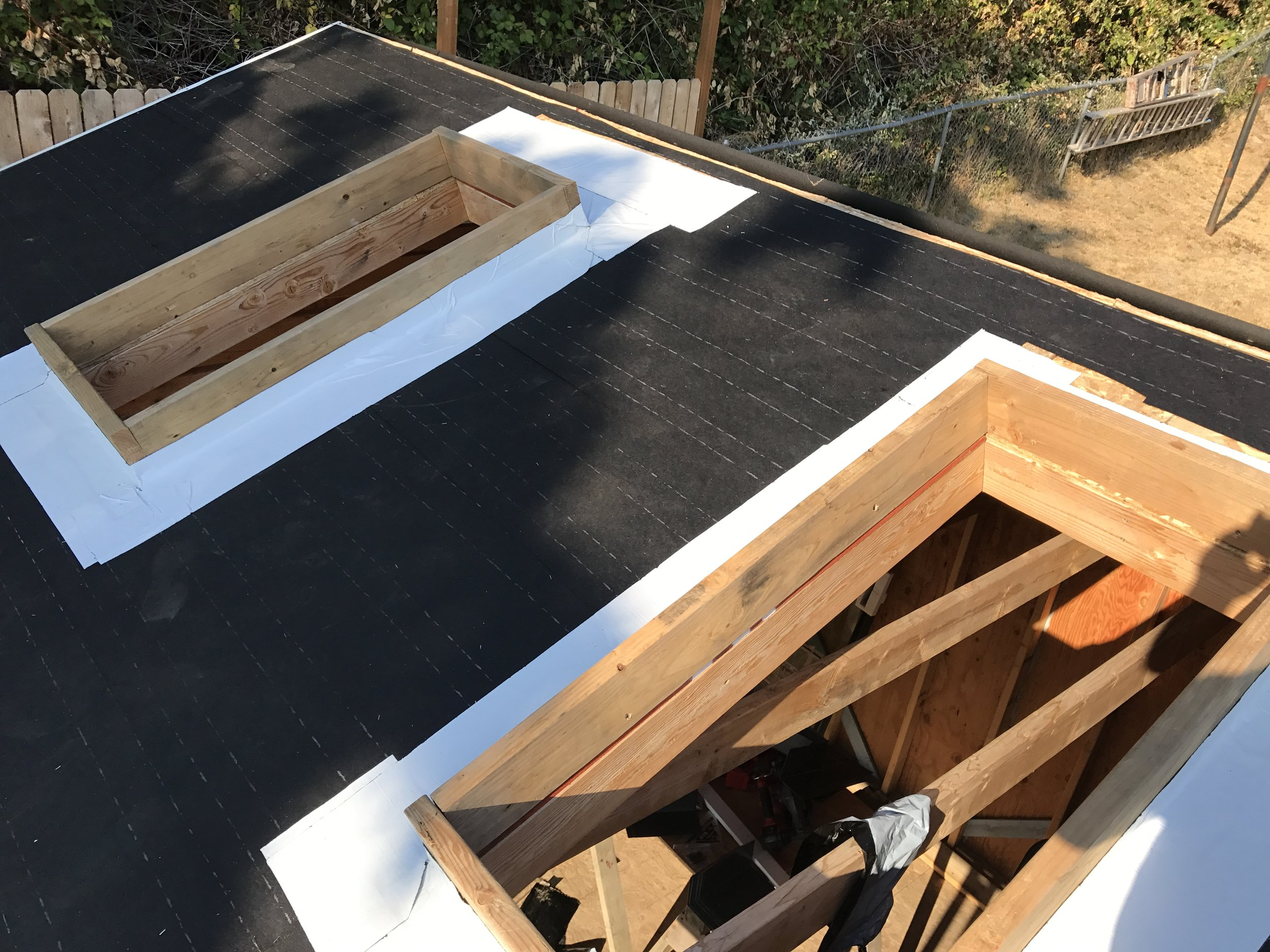 Just need some flashing and shingles and then I can install the skylights.