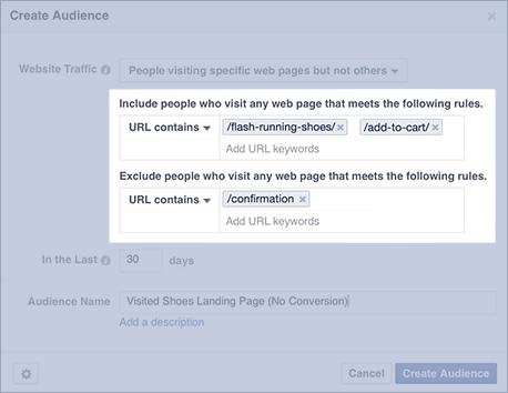 Simple version of Facebook retargeting exclusion list