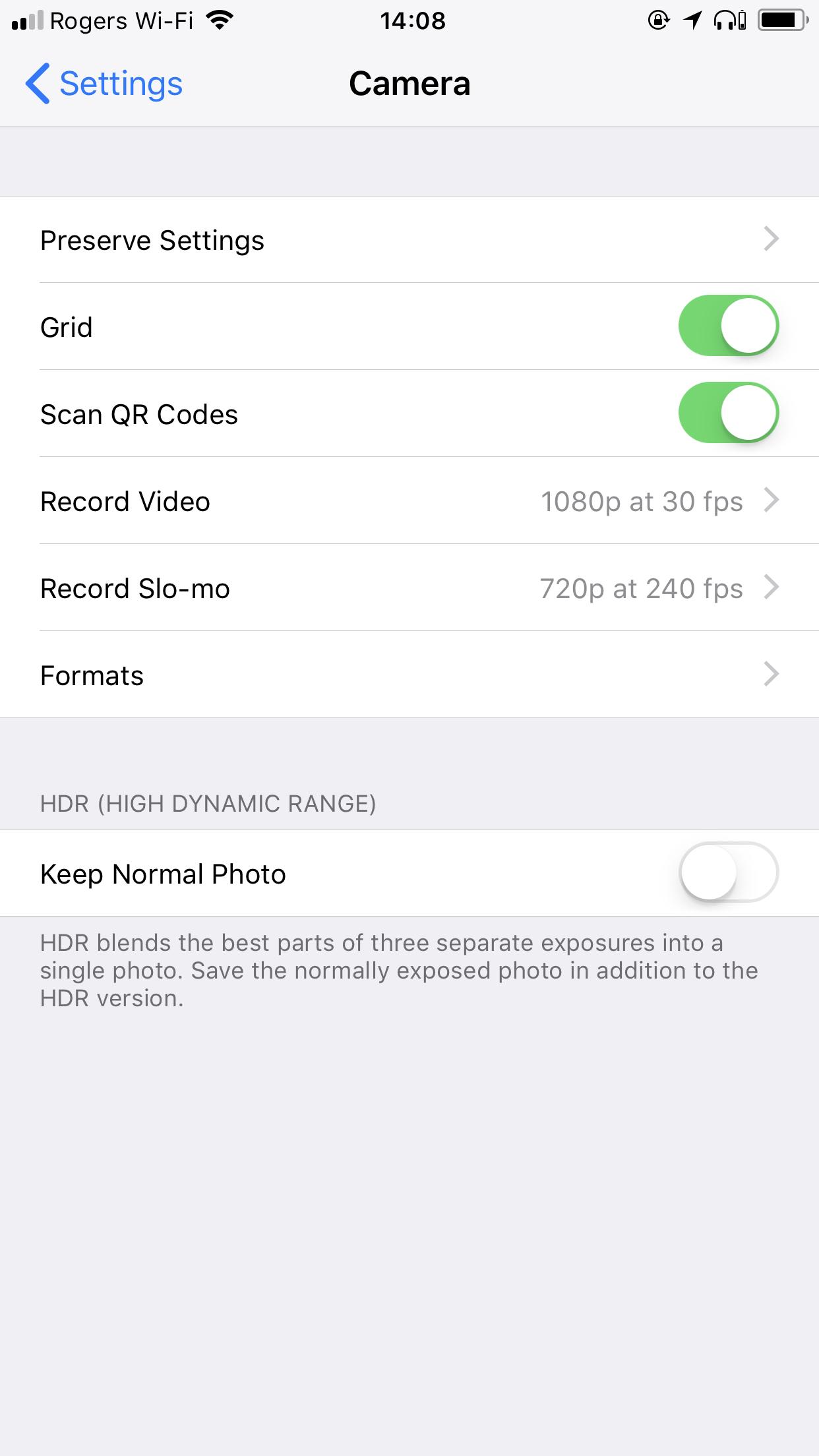 Original iOS Camera Settings