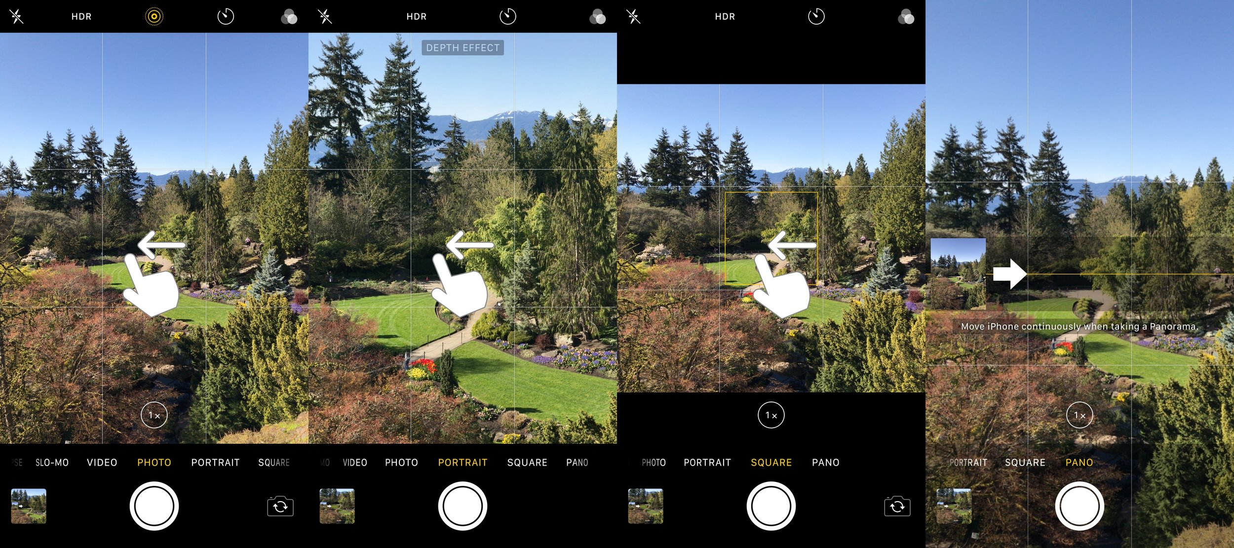 3 swipes required between Photo & Pano