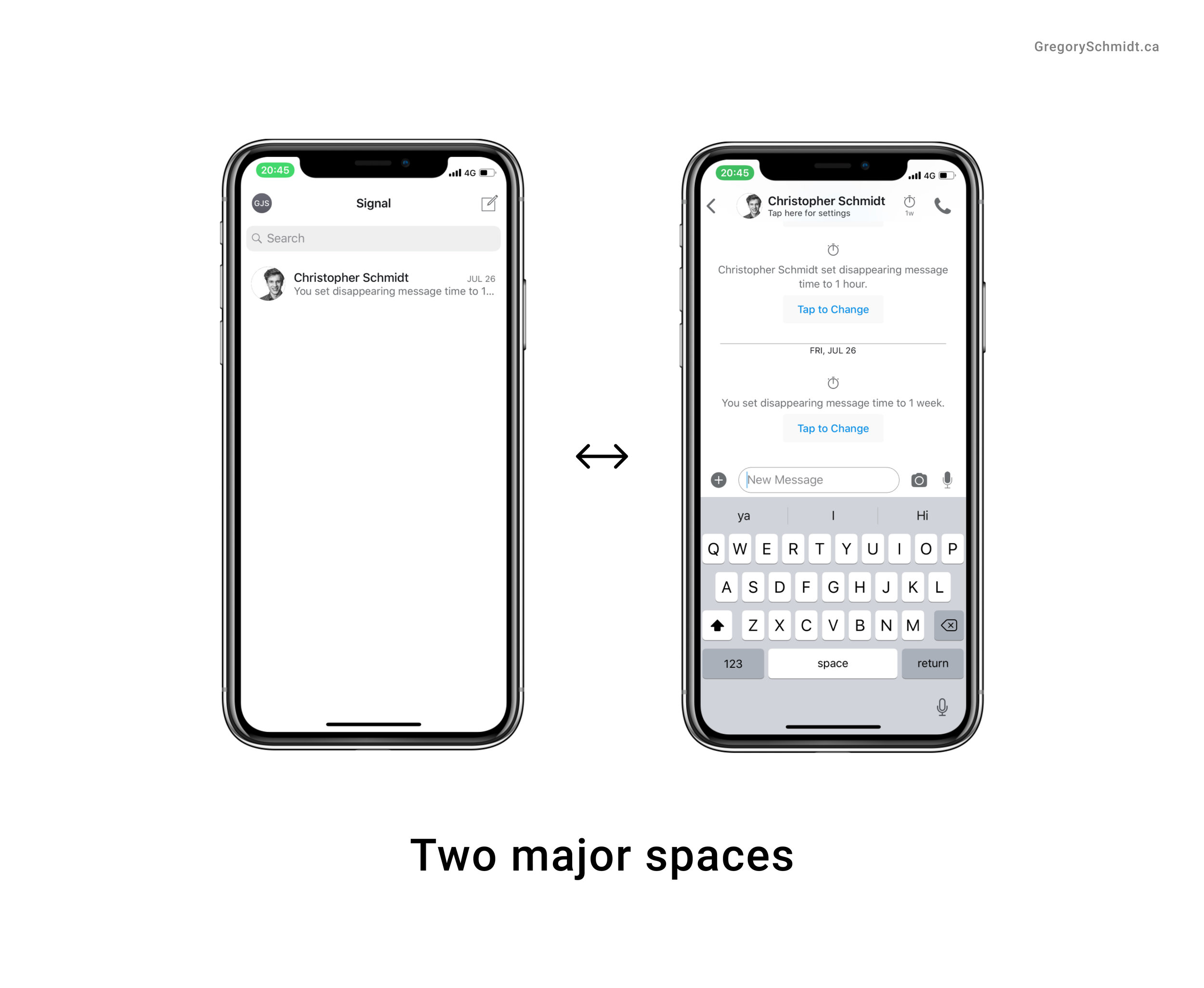 two major spaces side-by-side