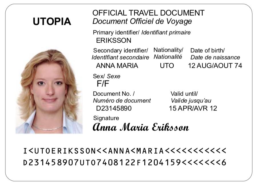 ICAO passport example