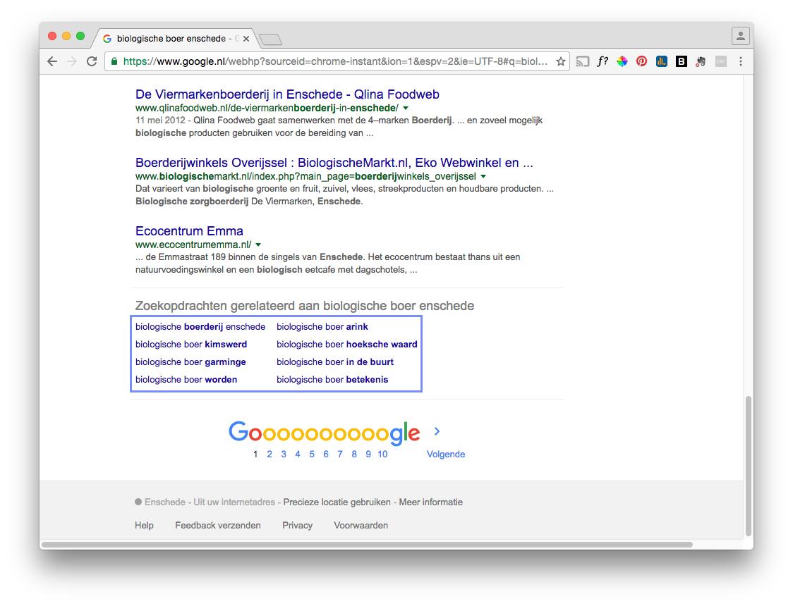 Voorbeeld van gerelateerde zoekopdracht van Google