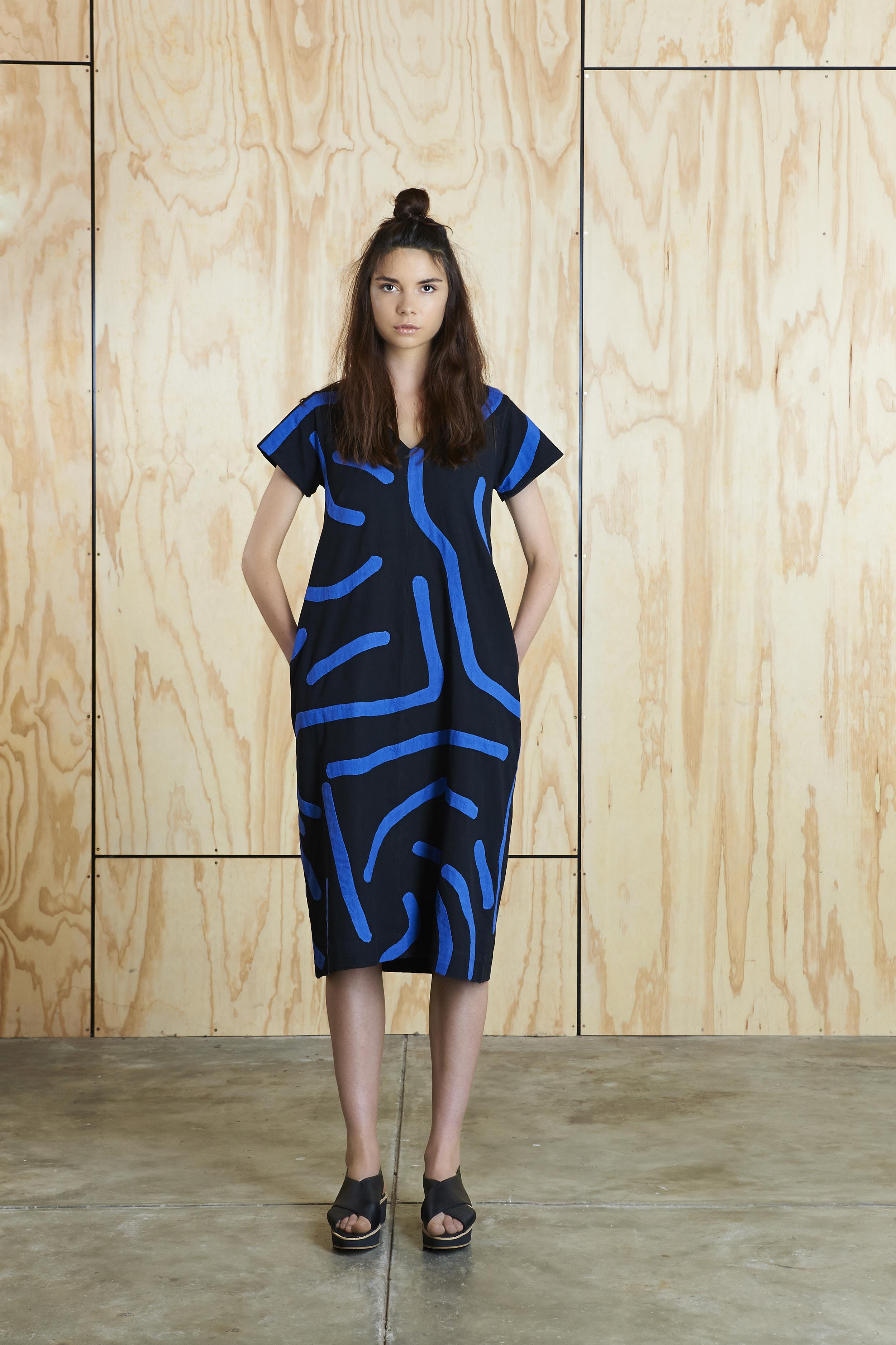 Big Creases Dress in Black/Blue  AUD $310