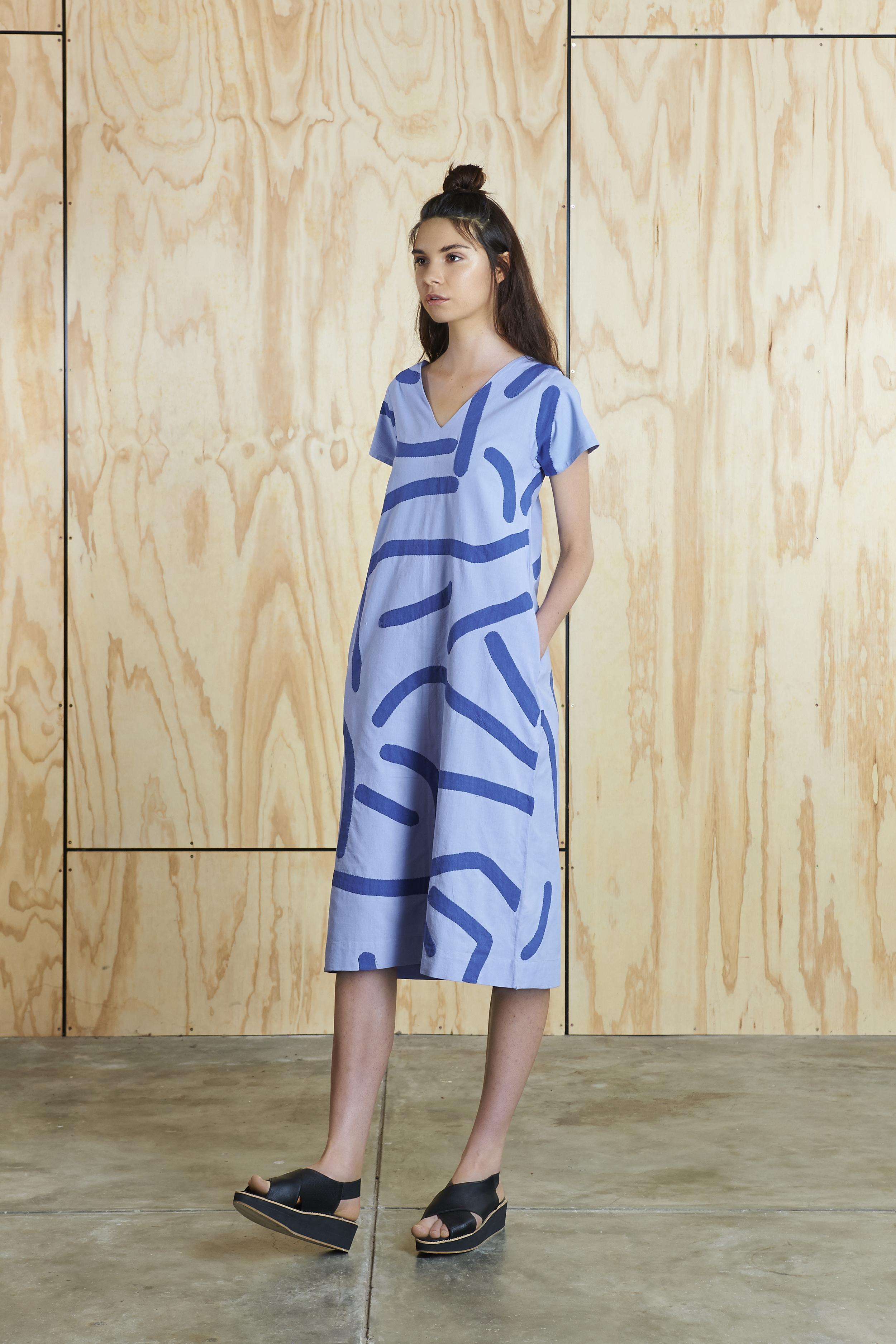 Big Creases Dress in Light Violet/Blue  AUD $310