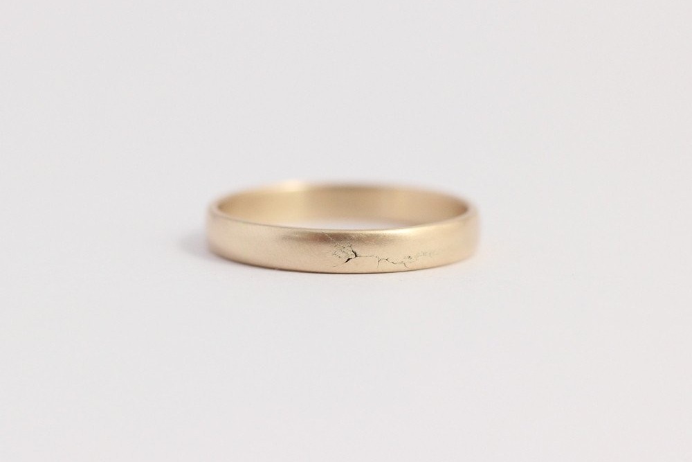 Narrow Rounded Ethical Yellow Gold Band $345 USD