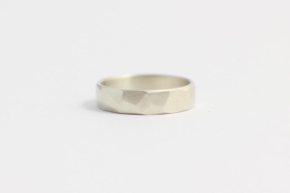 Asymmetrical Facets Ring - Narrow, in Silver $145 USD