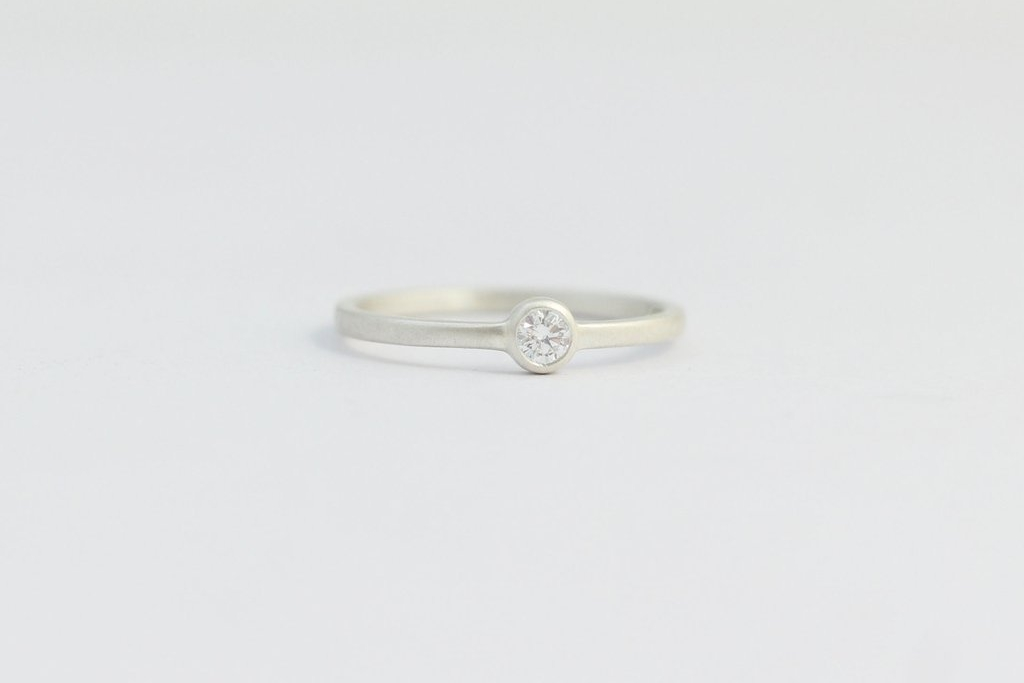 Solitaire Diamond Engagement Ring with Ethical Diamond in a Bezel Set, Platinum $1345 USD