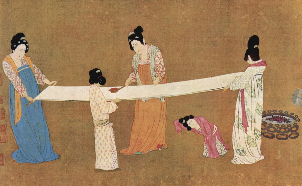 A painting depicting women inspecting silk, early 12th century (ink and color on silk) by  Emperor Huizong of Song .
