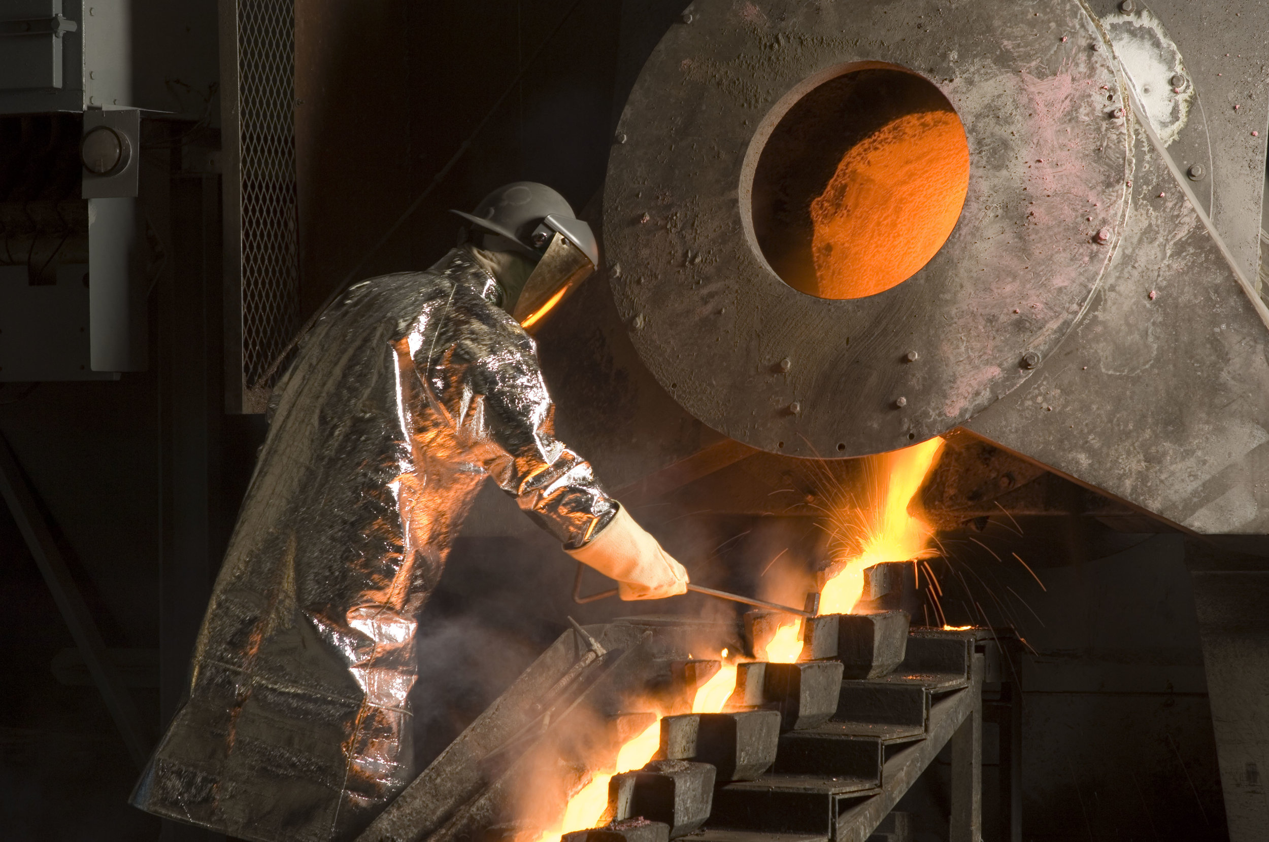 Molten gold in a refinery (Image credit: Wiki Commons)