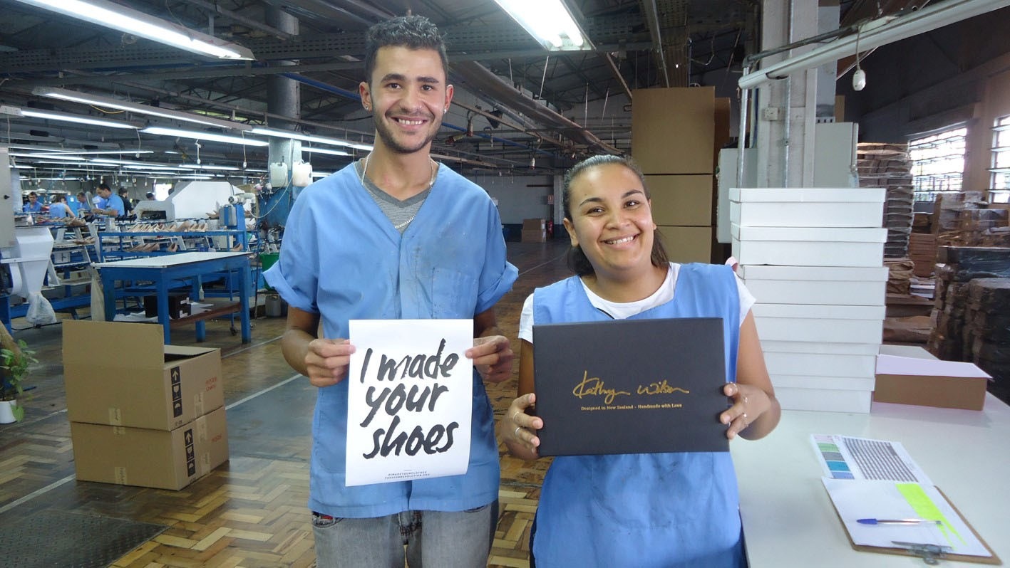 Production house staff in a Brazilian factory where Kathryn's shoes are made