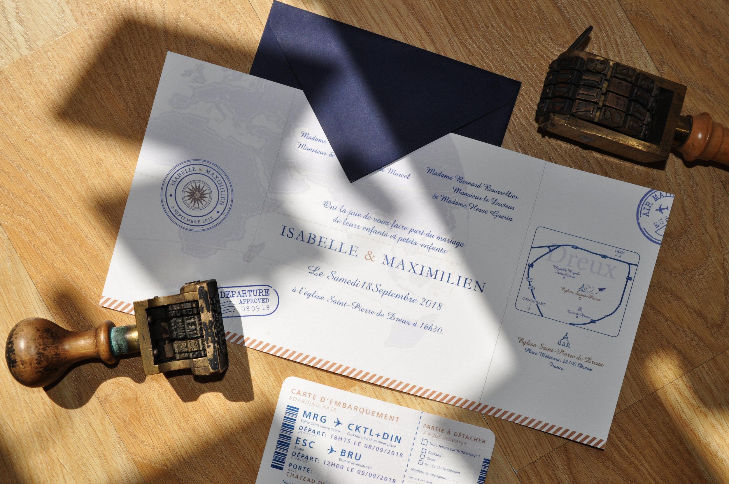 faire-part 3 volets - création sur mesure - thème voyage - papier bleu nuit.jpg