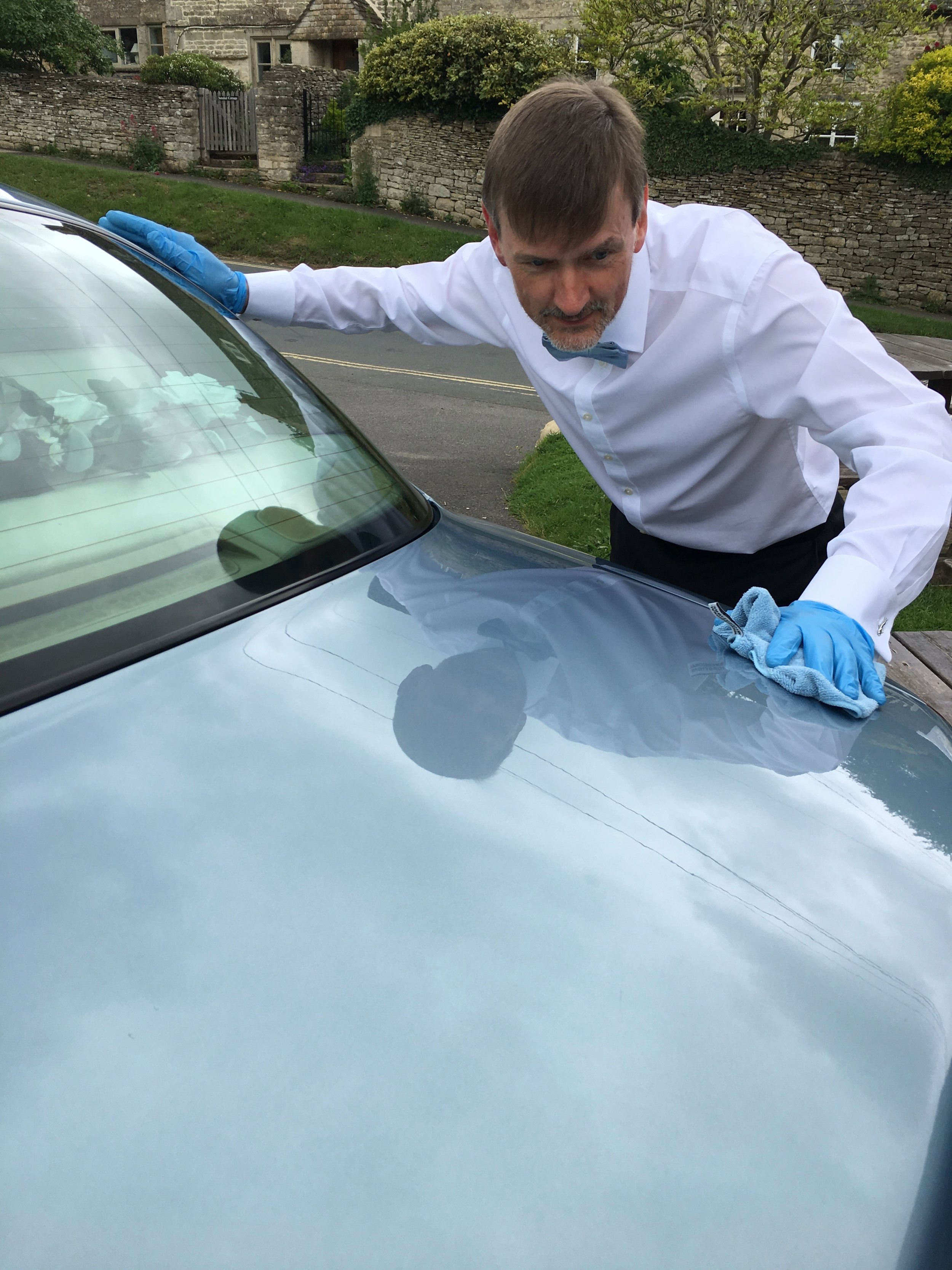 Detailing wax at a 'pre-location' before a wedding