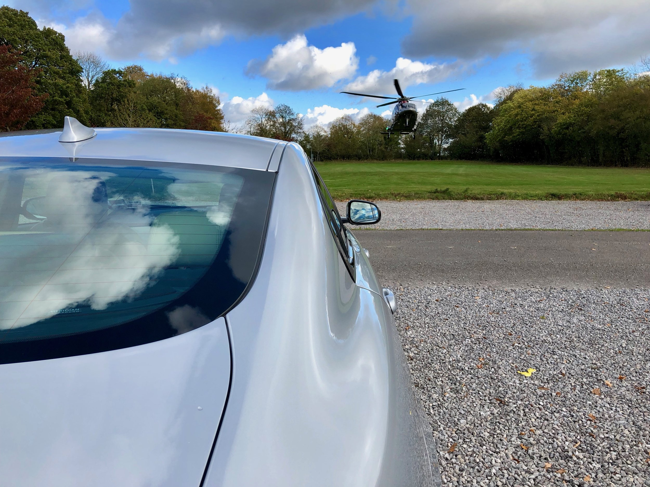 Collecting  a client arriving by helicopter for business meetings