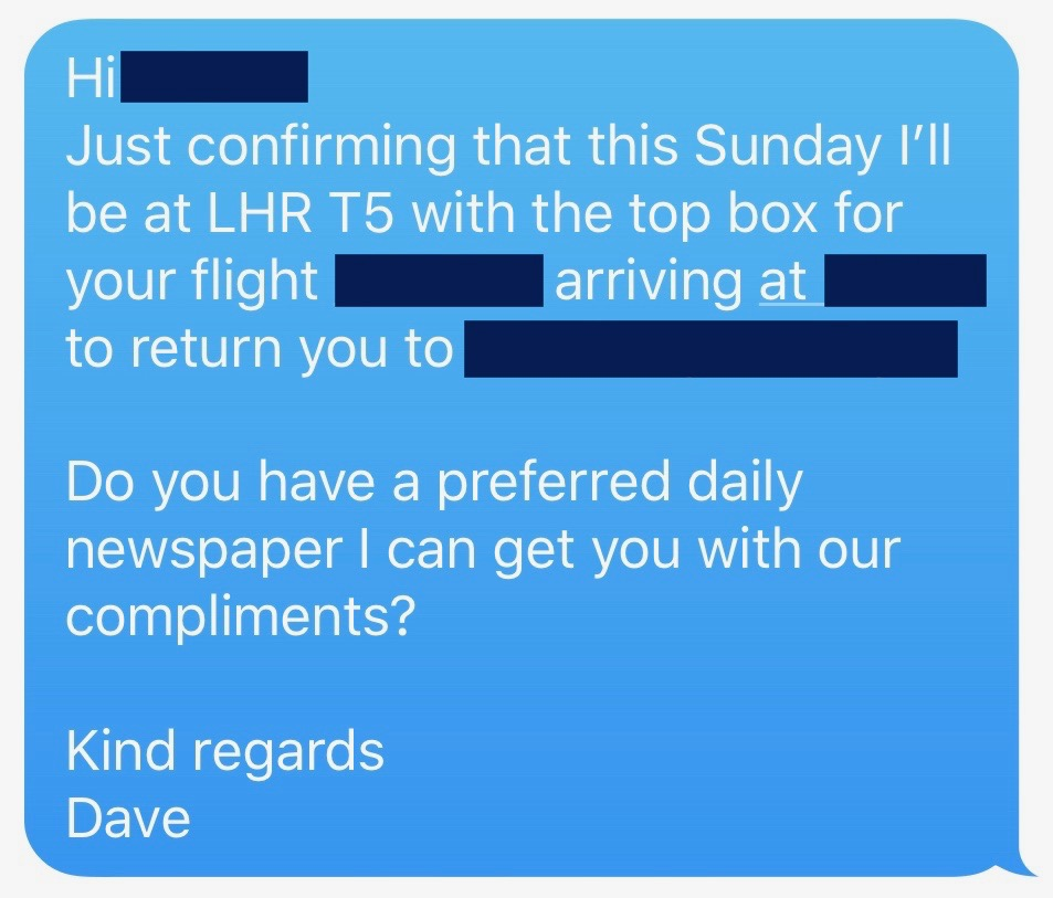 Executive Travel text from a chauffeur