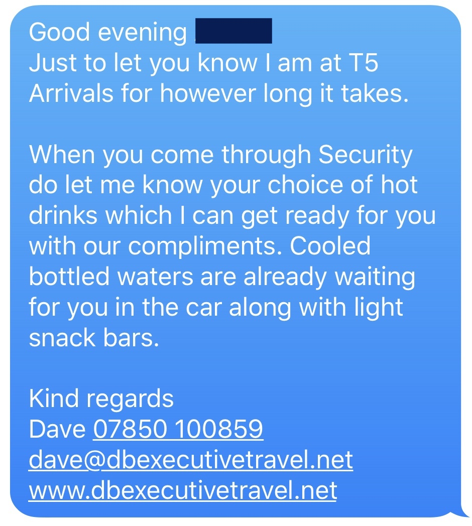 Text from an Executive Travel Chauffeur