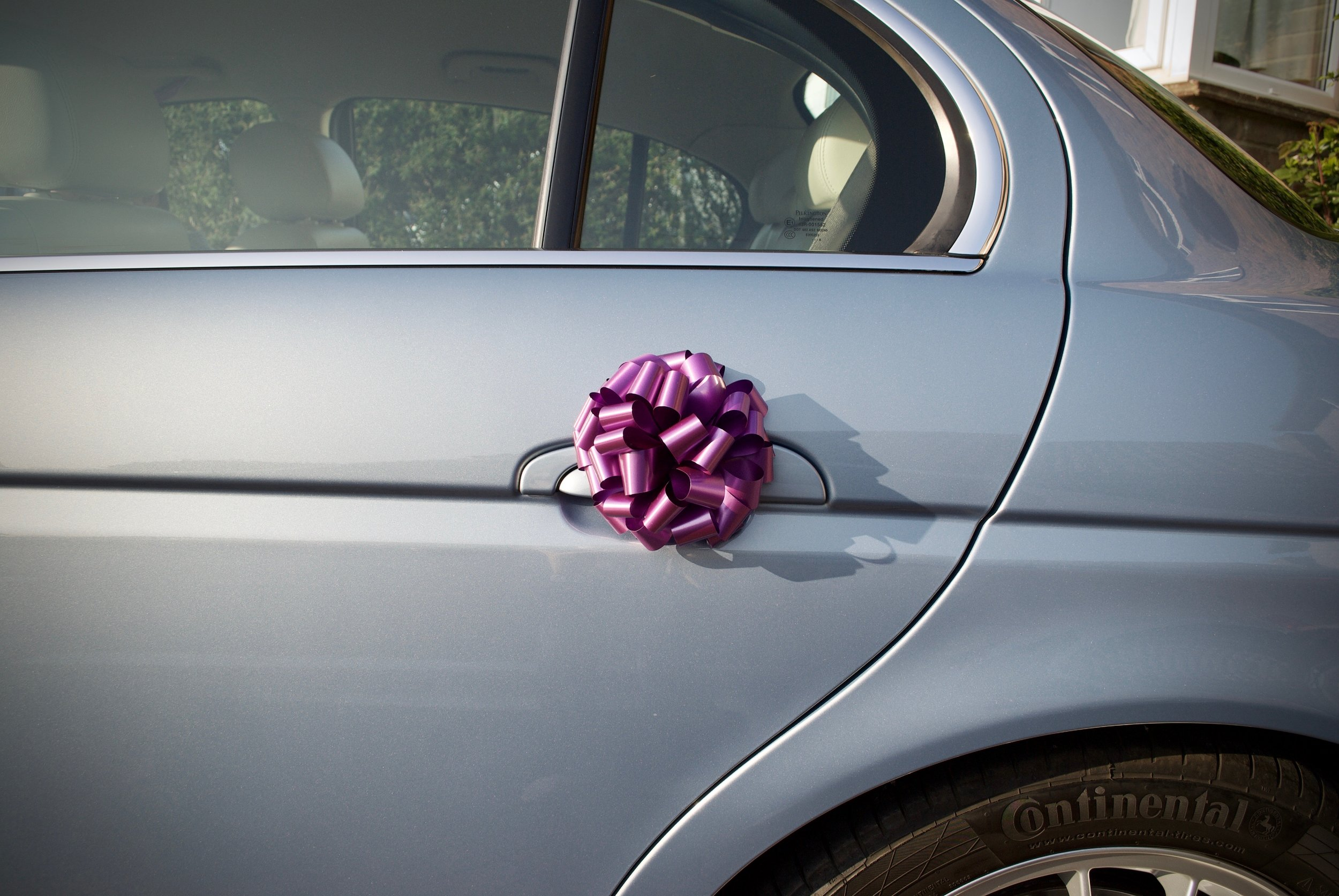 Jaguar S Type with Wedding Ribbons