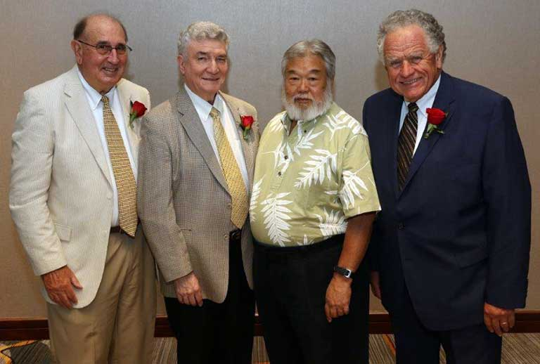 Induction into YMCA Hall of Fame [L-R] Peter Post, Jerry Prado Shaw, Bob Masuda and Len Wilson.