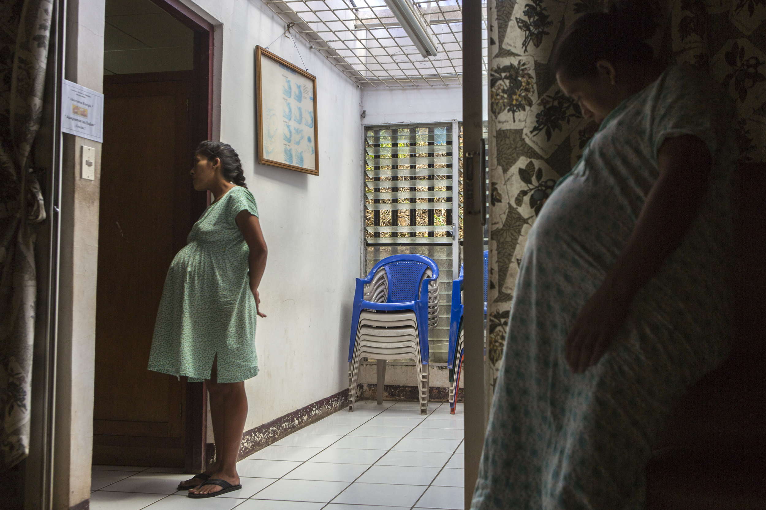 Meyling Rico, 15, waits outside the checkup office to receive her daily medical check up. According to the Guttmacher Institute, approximately half of young women in Nicaragua give birth before they reach the age of 20. In accordance with this, some of the children of women who came to the maternity home in 1991 are now here themselves expecting a child.