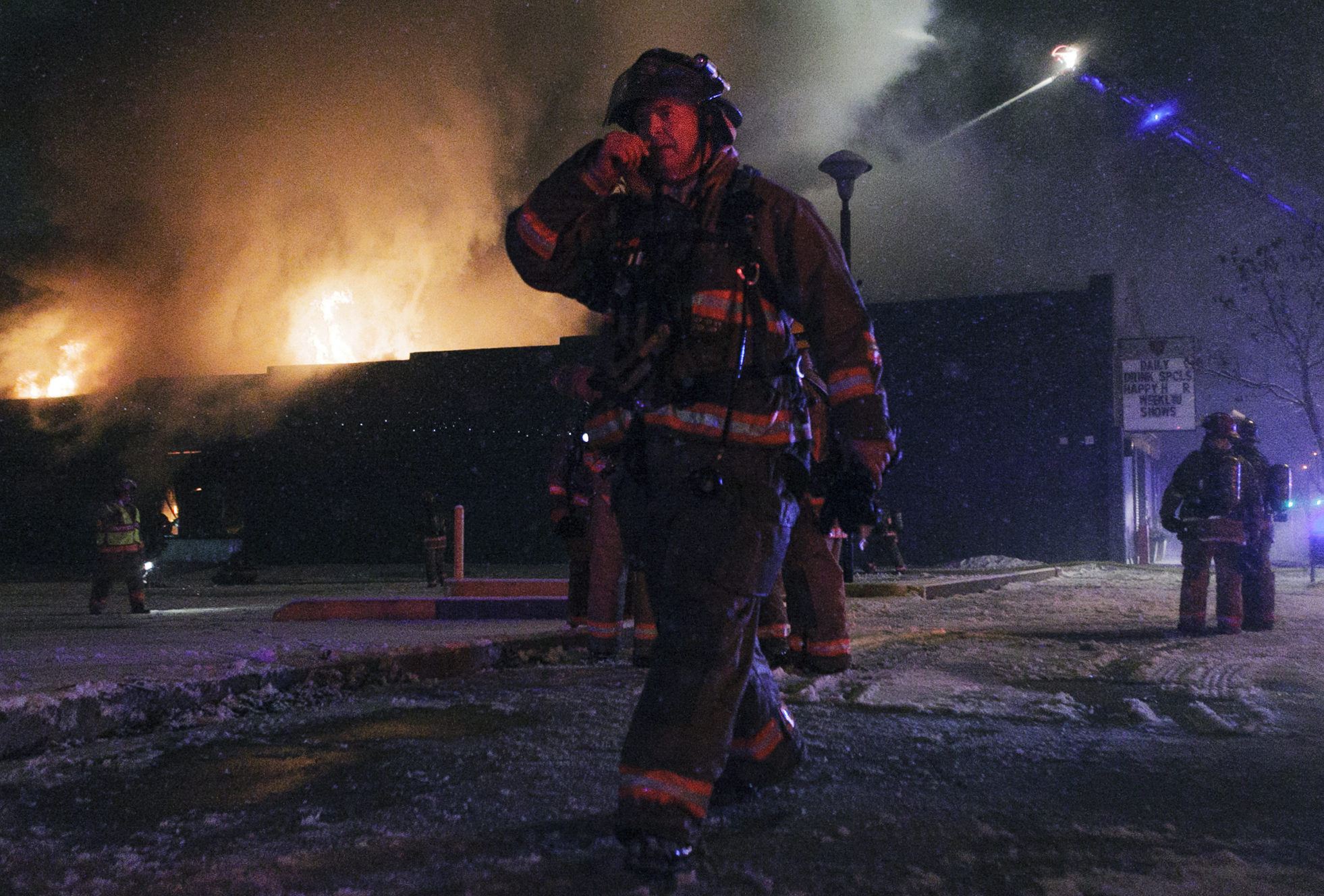 Firefighters battle a fire at the Karma Nightclub and Cabaret, as the city's only gay club goes up in flames on January 31, 2015, in Lincoln, Nebraska. The building was a total loss and later demolished.