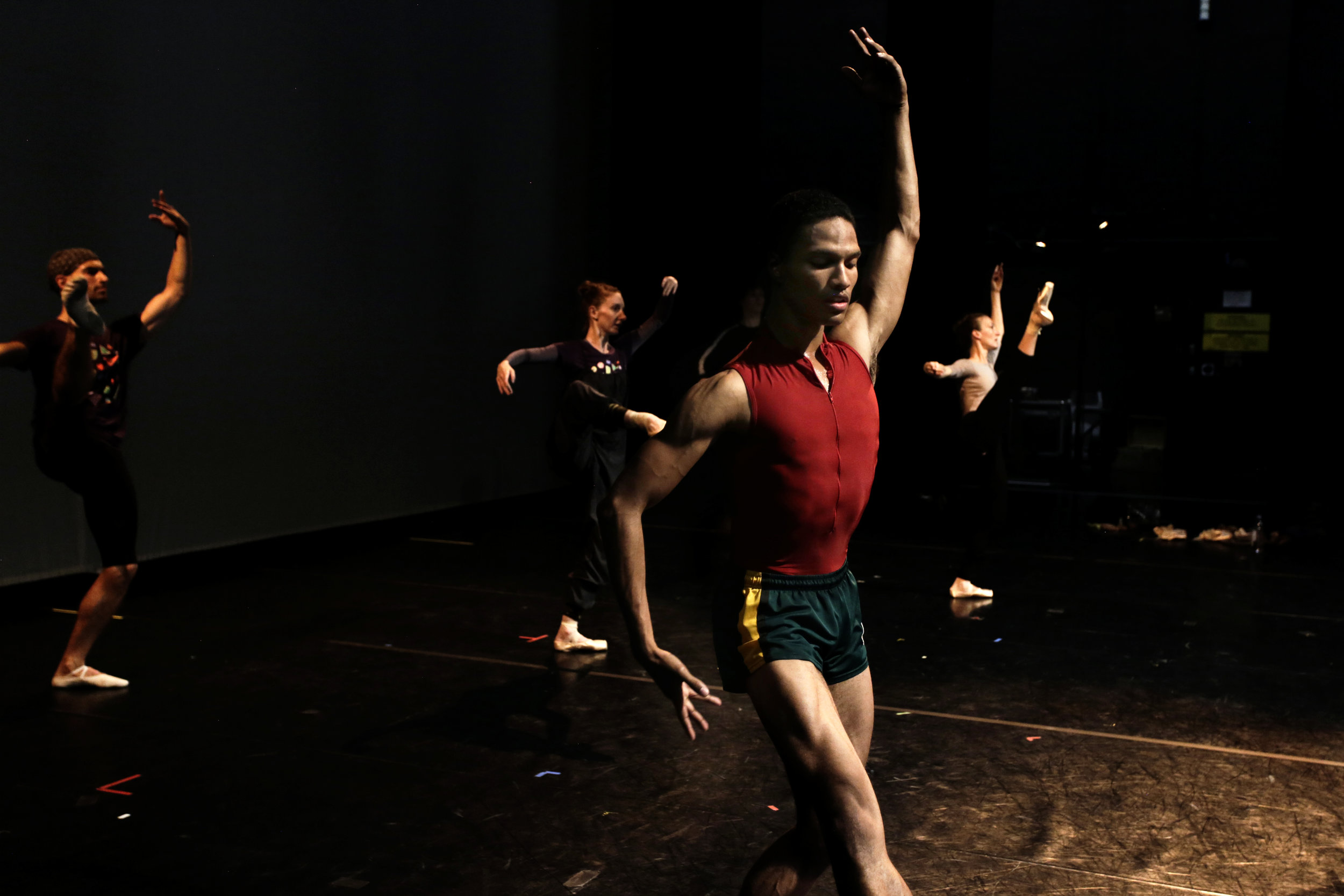 A member of The Royal Danish Ballet practices during a rehearsal at the Aarhus Concert Hall before a performance during the annual Aarhus Festuge.