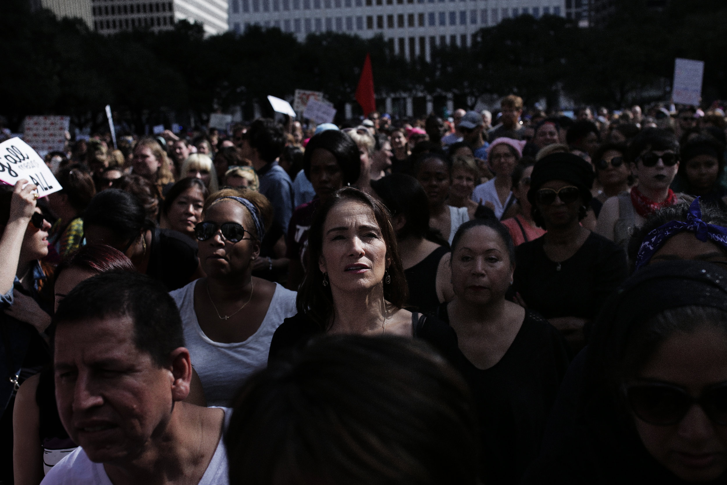 Diana Donath, along with over 20,000 other individuals, gathered at Houston's City Hall during the Houston Women's March to stand together in unity with other Women's Marches around the world.