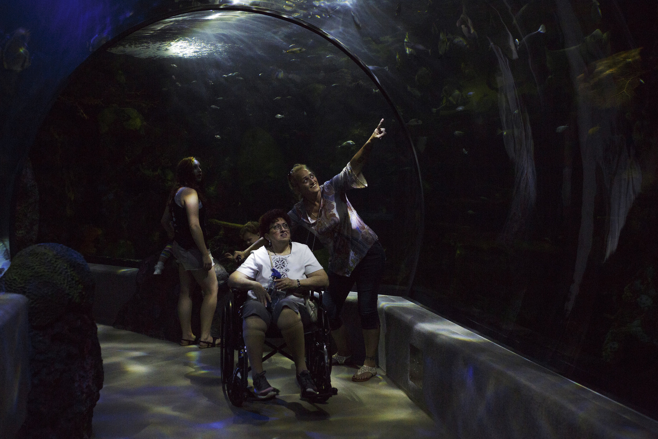 Kim Rivera, right, and Charlotte Stanley point towards the marine life in the Red Sea at the Virginia Aquarium & Marine Science Center in Virginia Beach, Virginia.