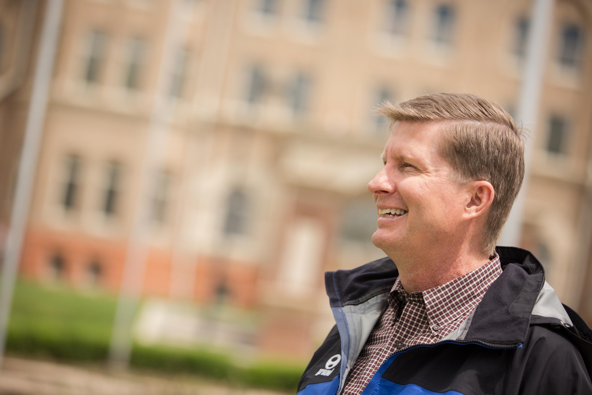 Exchange faculty member touring JWU 's campus