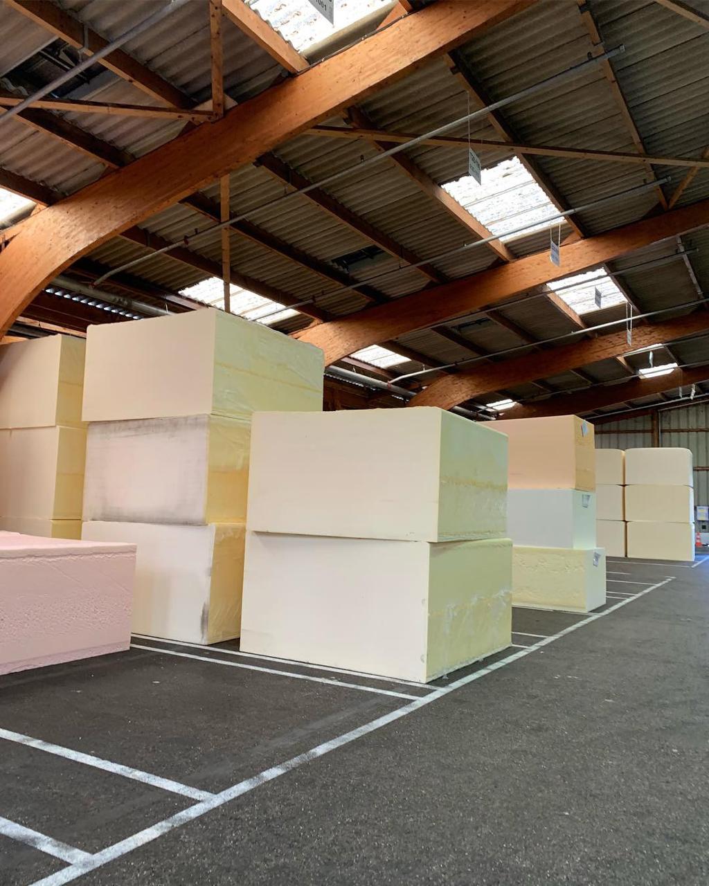 Large blocks of foam in 26 different densities await an order