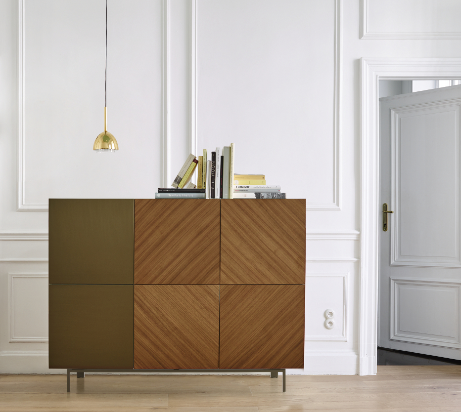 A completed Book & Look sideboard in walnut and bronzed aluminum