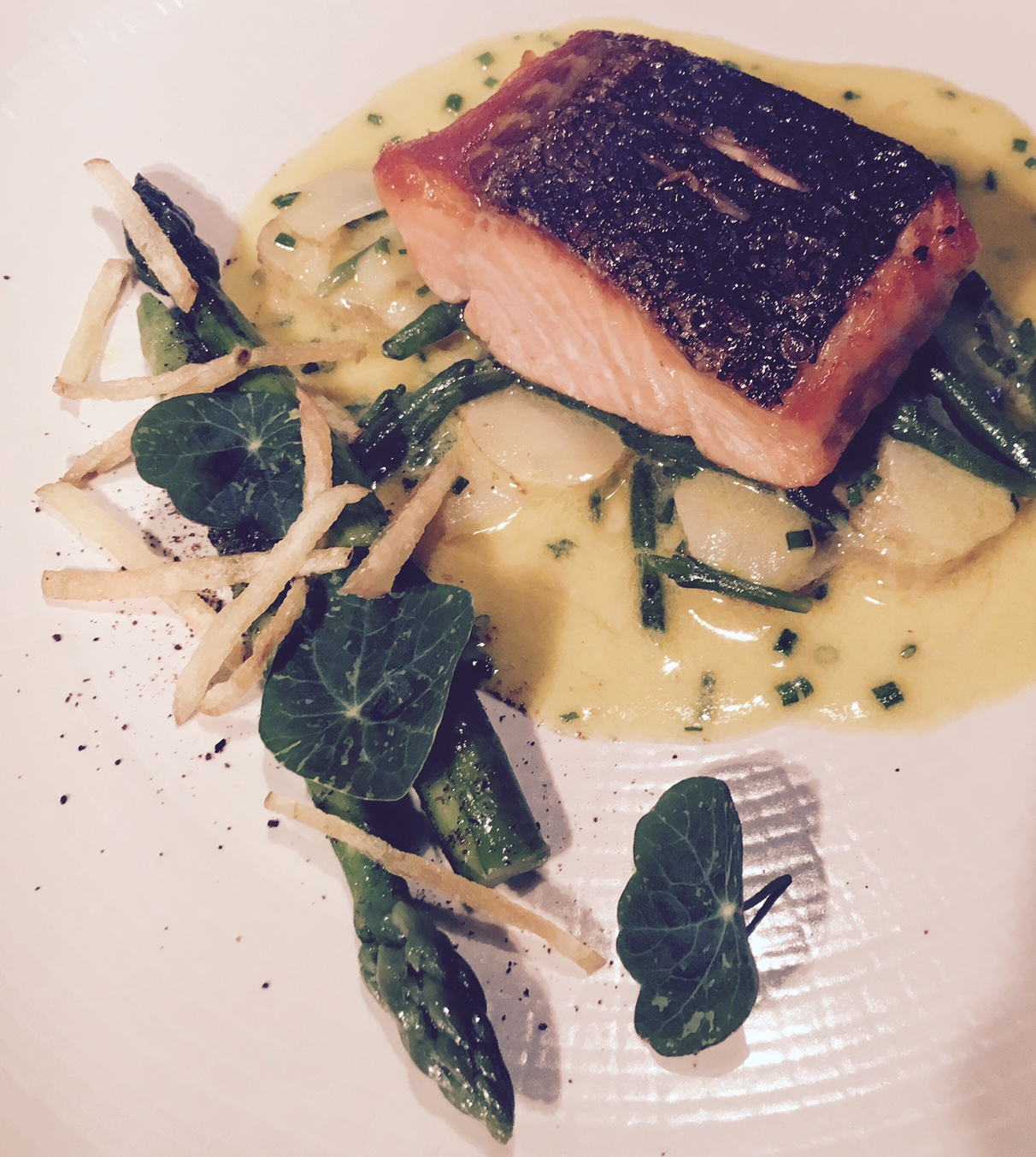 Sea Trout, Jersey Royals, Asparagus paired with the new release Kit's Coty Chardonnay, 2013