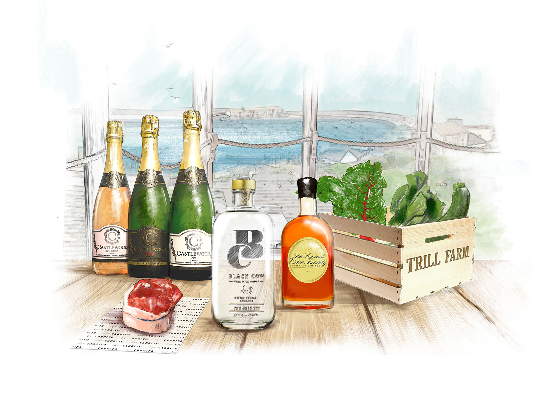 South West producers including Cabrito, Trill Farm, Black Cow Vodka, Castle Rock Wines and Somerset Cider Brandy