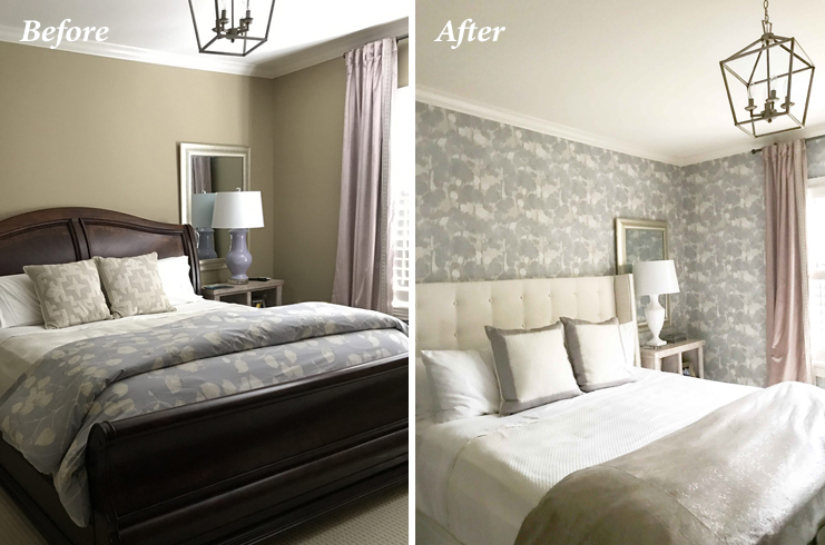 Blogger Kelly Page turned to Calico to revamp her guest bedroom with new headboard in Crypton Home fabric and Fabricut wallpaper