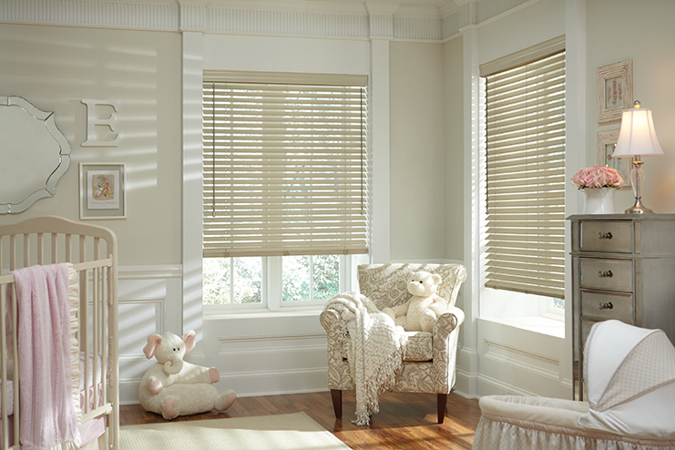 Hunter Douglas   Parkland Classics     hardwood blinds are elegant by themselves or pair beautifully with window treatments.