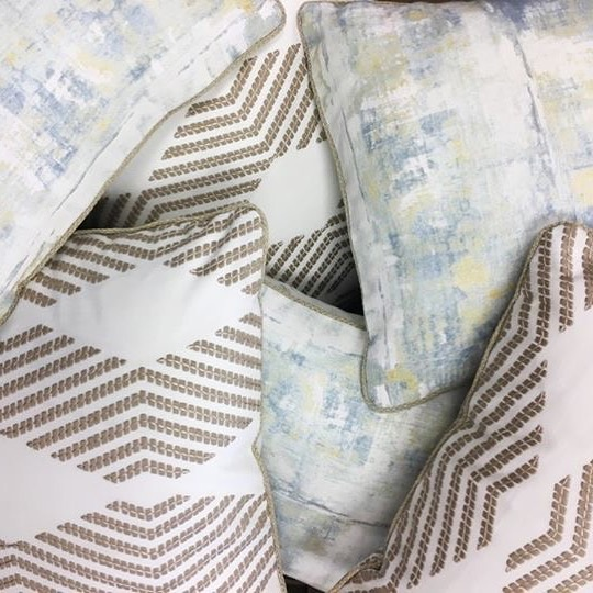 Dreamy bedroom decor starts with custom pillows. We love the soft, neutral look of this fabric combinations, created for a customer at @annapolis_calico by design associate Destiny. It makes us want to jump in for a quick cat nap. #CalicoDesign #custompillows #homedecor #bedroomdecor #interiordesign