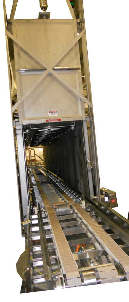 Sanitary CIPable Custom Sized Vacuum Chambers, Automatic Infeed and Outfeed Conveyance