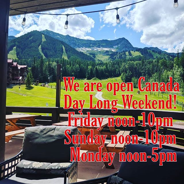 Come up and check out our carbon monoxide free patio! New menus this weekend, closed Saturday for a wedding.  Located up the hill attached to the @grizinn!  #ferniestoke #rustyedgebar #beautifulbritishcolumbia #canadaday #patioseason #caesarslushies