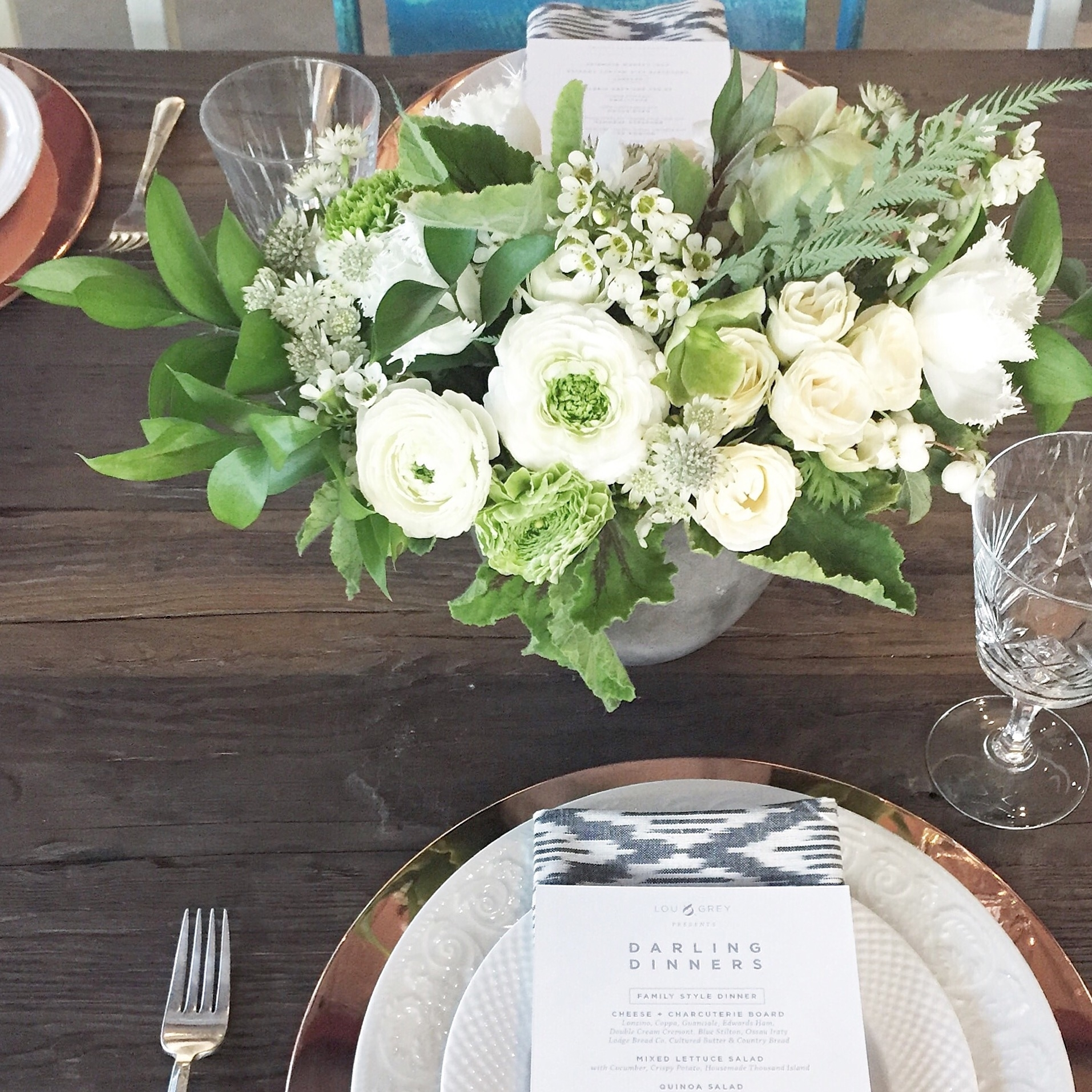 LOU & GREY x DARLING Dinner, Los Angeles CA  I  Coordination,Flowers, Design : Chelsea Carter Events I  Photographer : Monica Wang