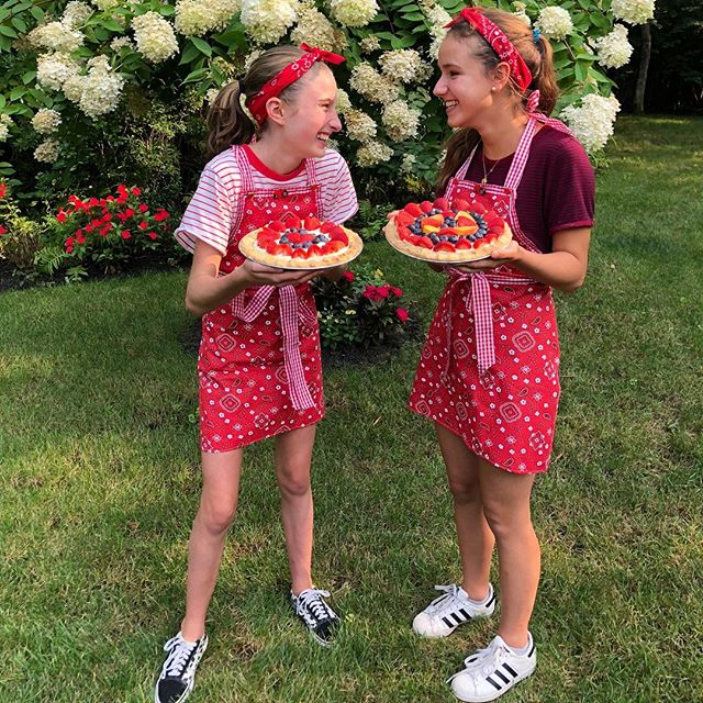 In case you haven't heard: Summer Fruit Cream Pies available for a limited time only! *aprons handmade by my mom ❣️ @charlotte_624 @abbysherwood.4