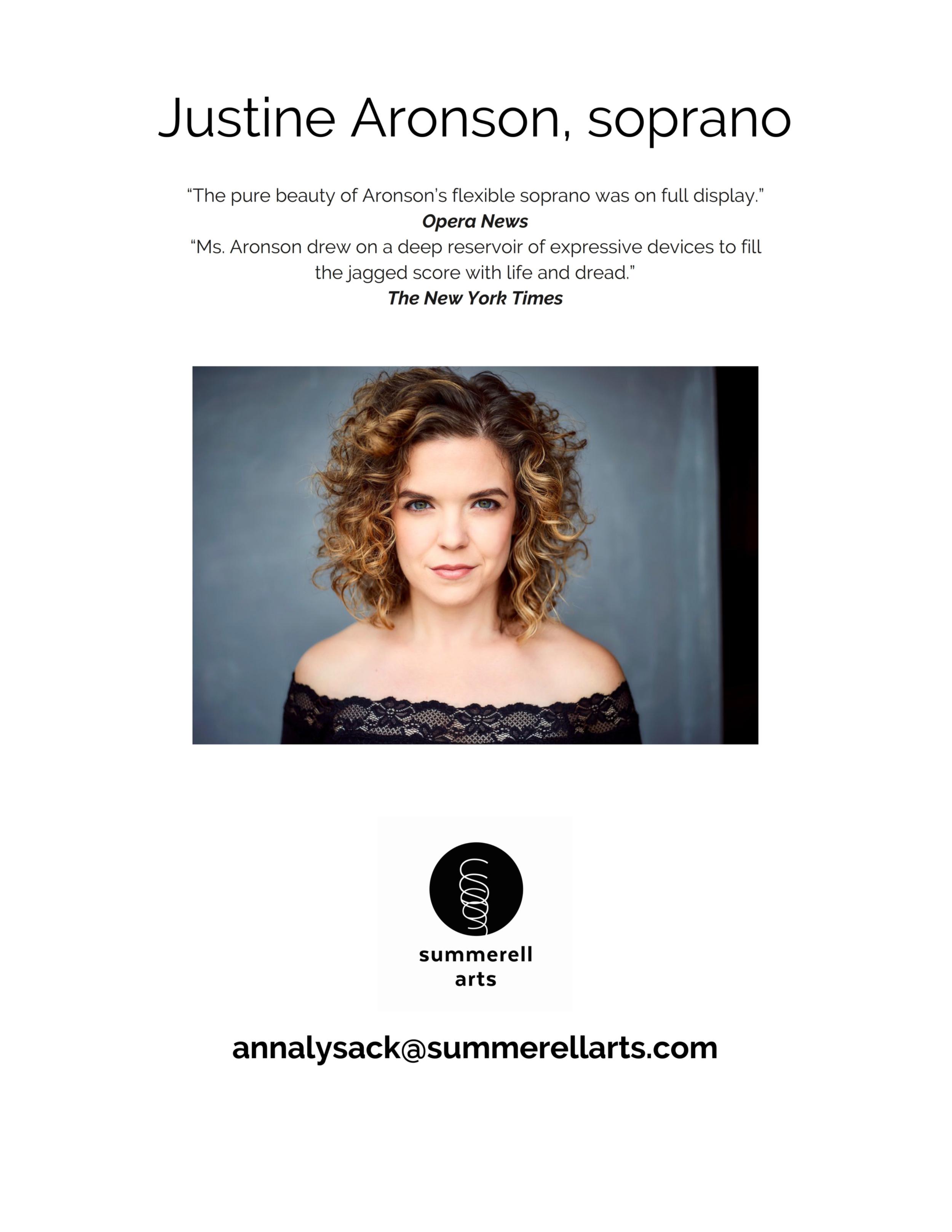Justine Aronson, soprano - Artist Information Sheet