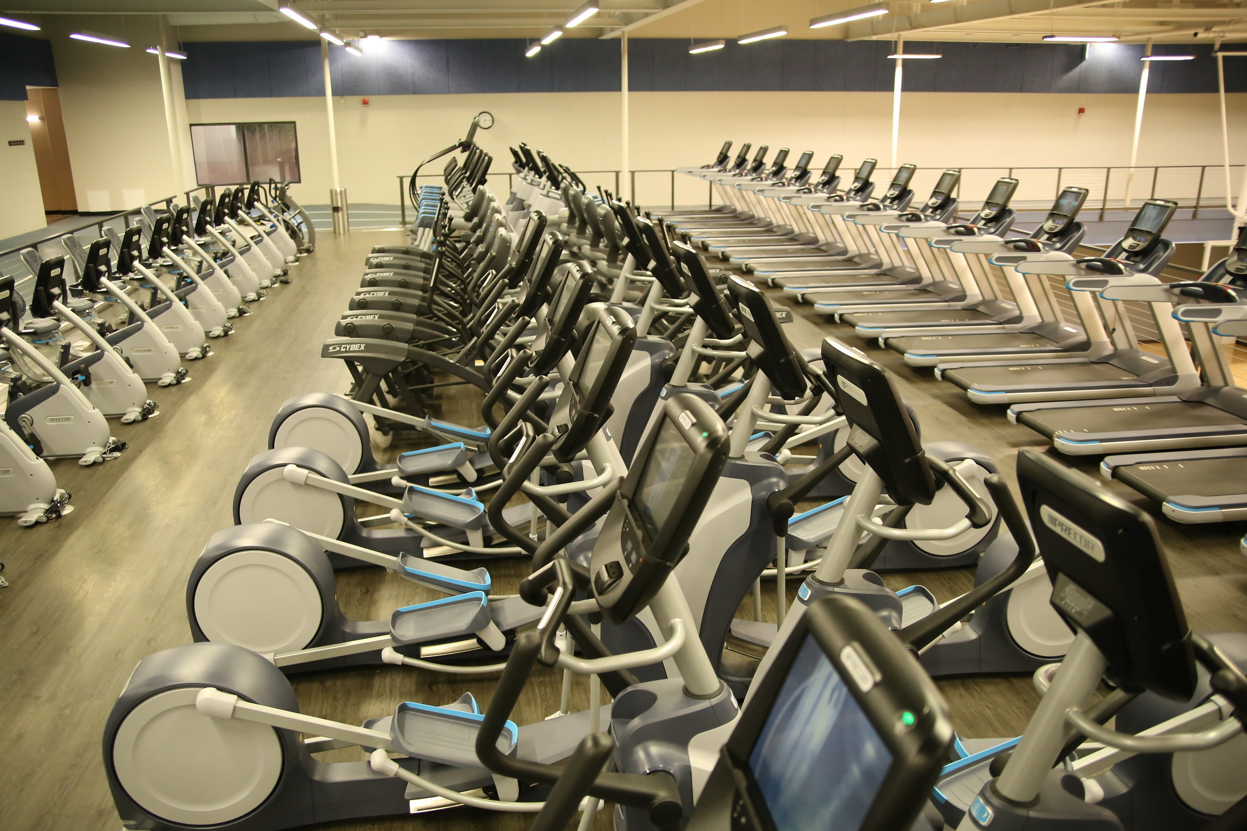 The Club's  Cardio Deck  is over 3,500 sq. ft. and includes recumbent bikes, ellipticals, treadmills, crosstrainers and more. Watch your favorite channel or check social medial. Members can even create an account to personalize their workout experience.