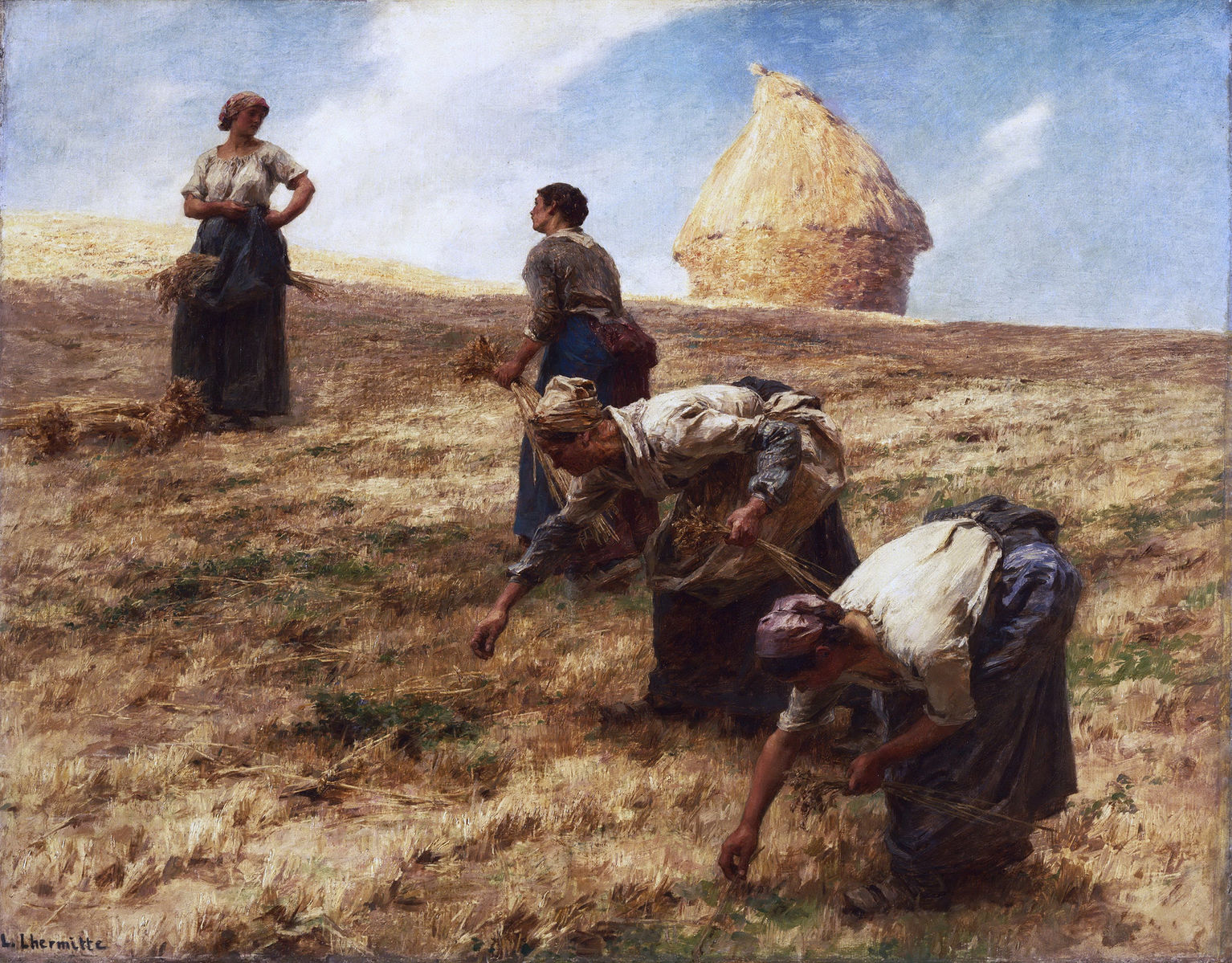"Léon-Augustin Lhermitte's 'The Gleaners"" (1887, Philadelphia Museum of Art).  The gleaners are related to the commons because gleaning -- scavenging the leftovers after the harvest -- has historically been a right of commoners.     by  Leon Augustin Lhermitte"