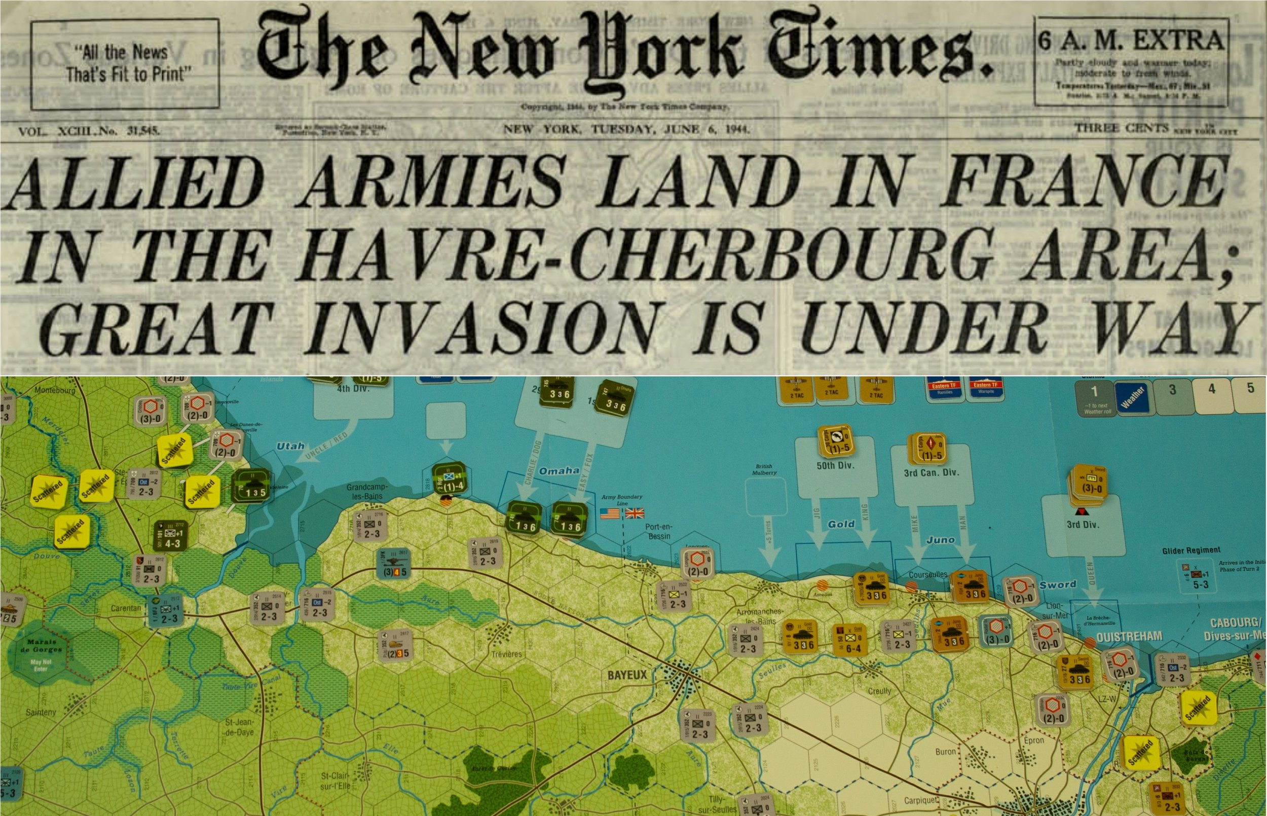 MT Normandy '44 - Game on the Allied Invasion of Normandy, June 1944. The picture links the headlines from the June 6th Late edition of the New York Times with the game immediately after the initial invasion sequence - one of many possible situations  by  Michael Arrighi
