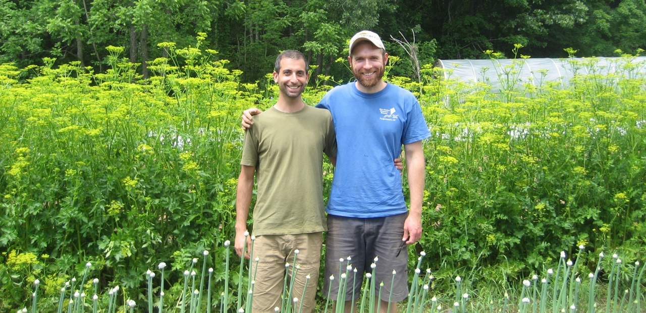 Ken Greene and Doug with flowering parsnips