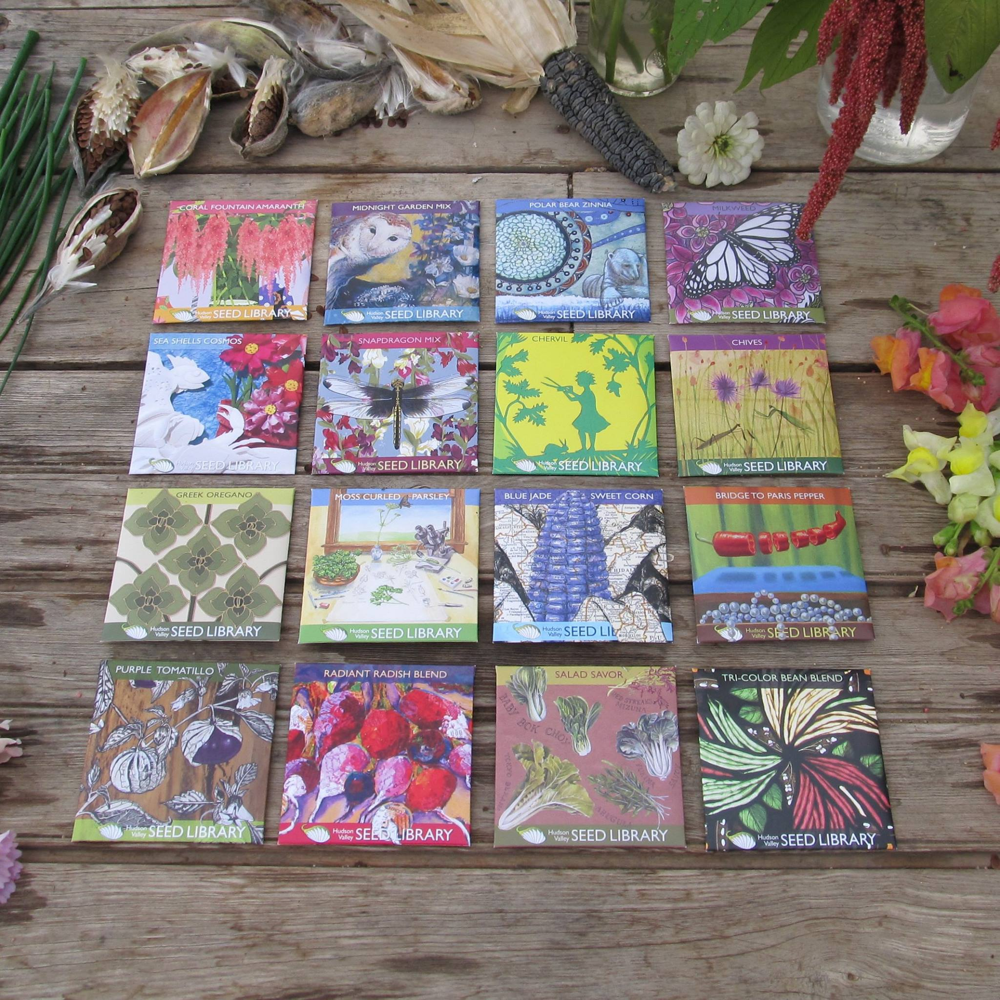 An artfully crafted selection of seeds from the Seed Library
